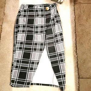 Boohoo s 4 tartan gray split front midi skirt